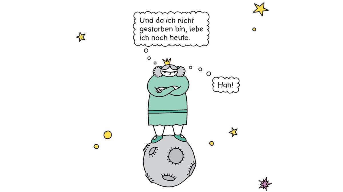 Eine Comiczeichnung, auf dem Prinzessin Petronia auf ihrem kleinen Planeten steht.