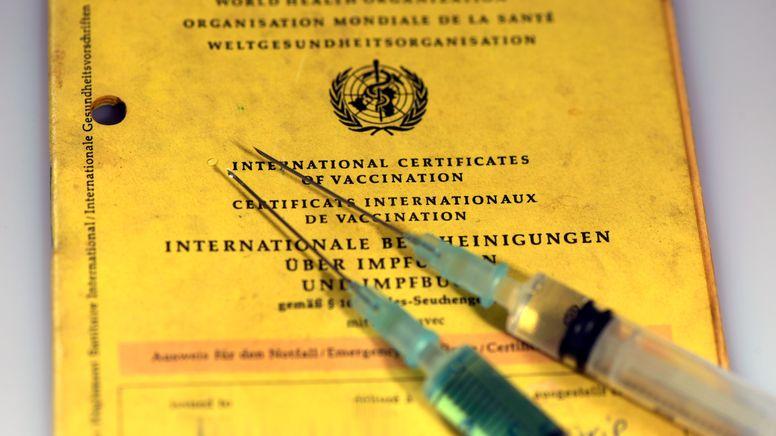 Ein Impfpass mit zwei Spritzen (Symbolbild)   Bild:pa/dpa