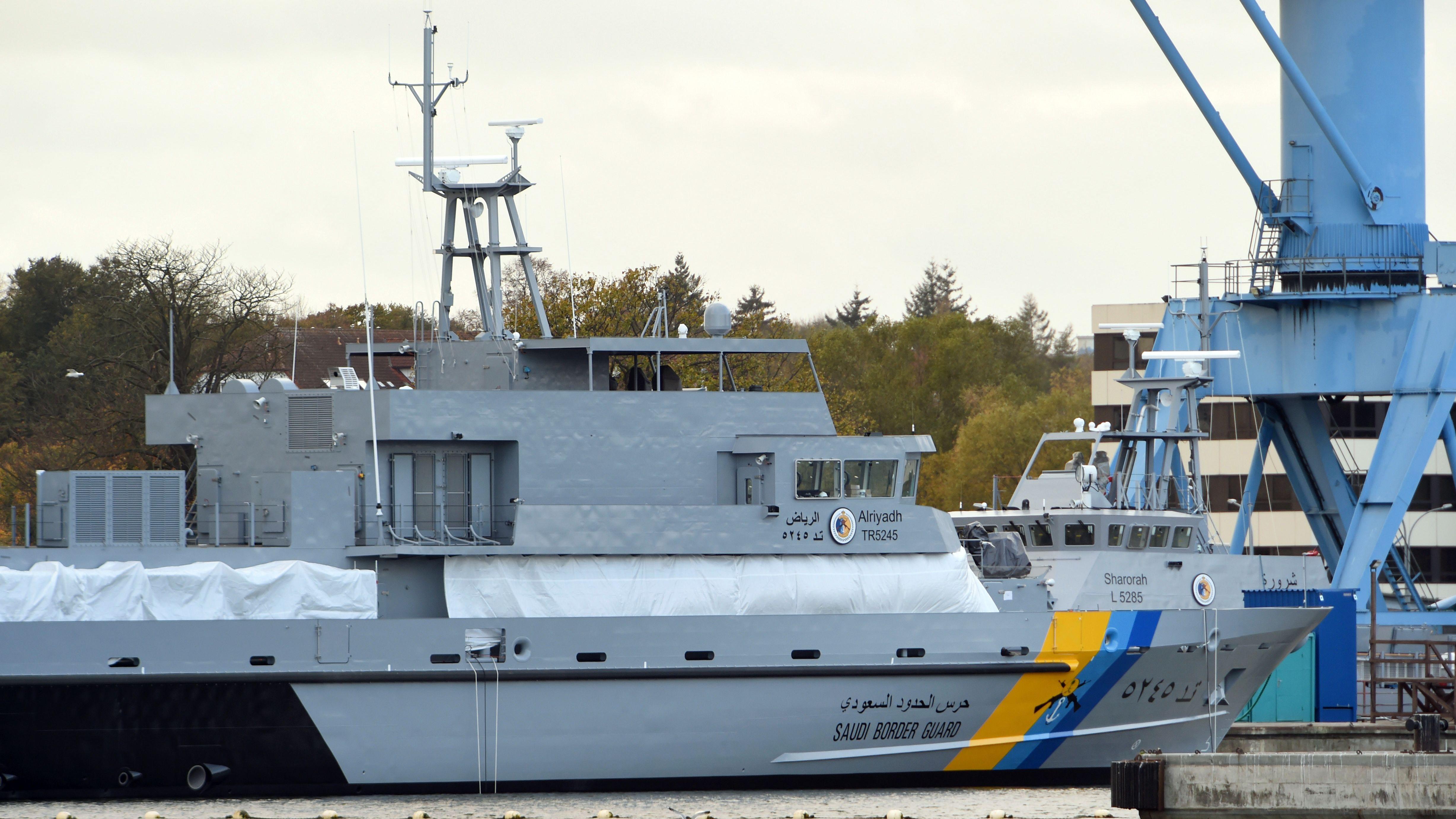 Küstenschutzboot für Saudi-Arabien auf der Peene-Werft, aufgenommen am 25.10.2018