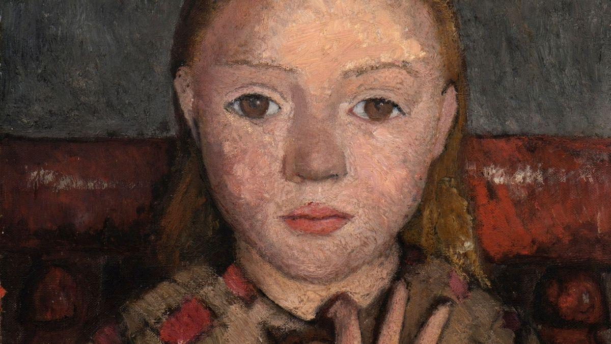 Ausschnitt aus dem Gemälde von Paula Modersohn-Becker, Mädchenbildnis mit gespreizter Hand vor der Brust