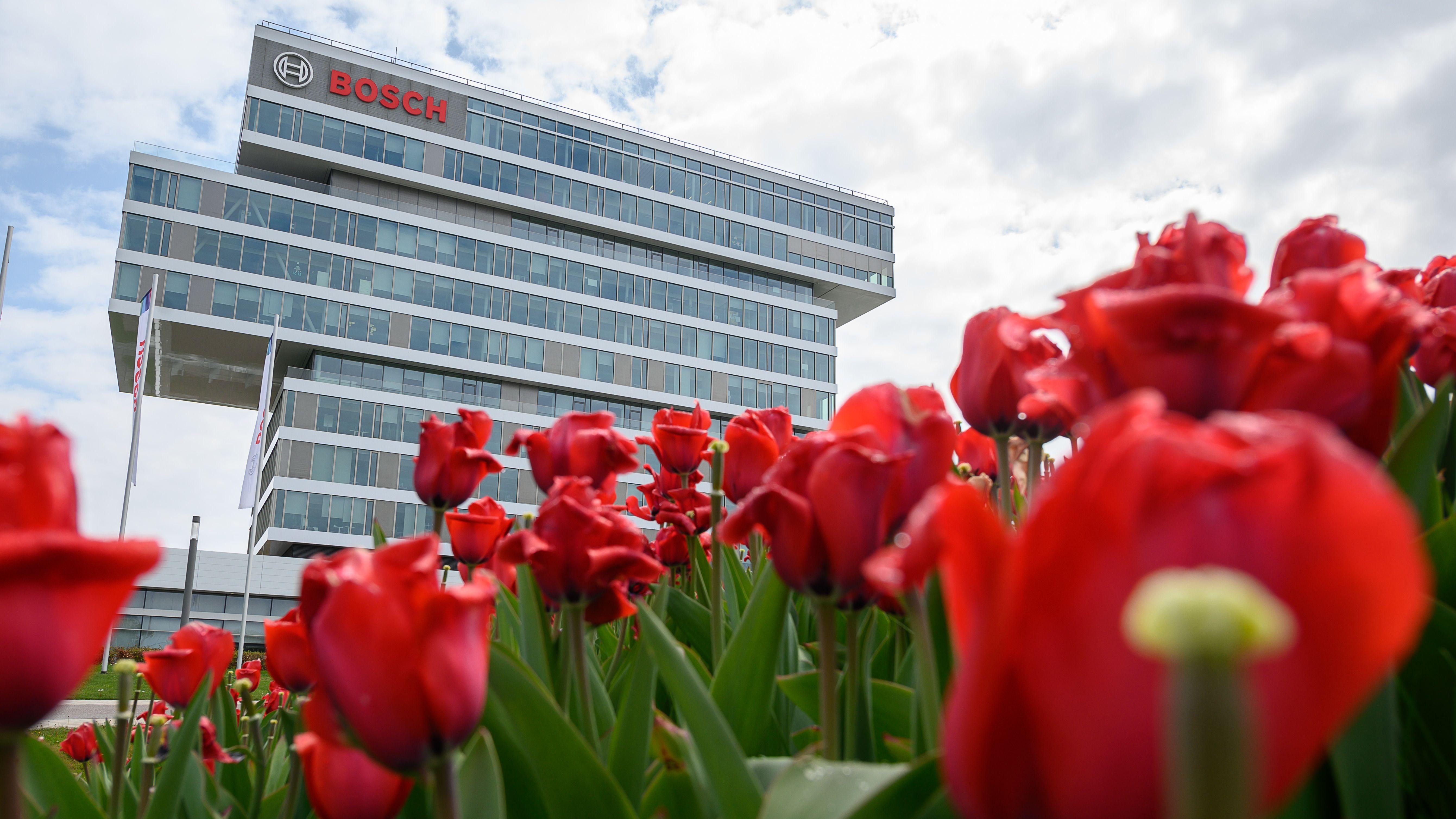 Bosch-Firmengelände in Renningen mit Tulpen im Vordergrund