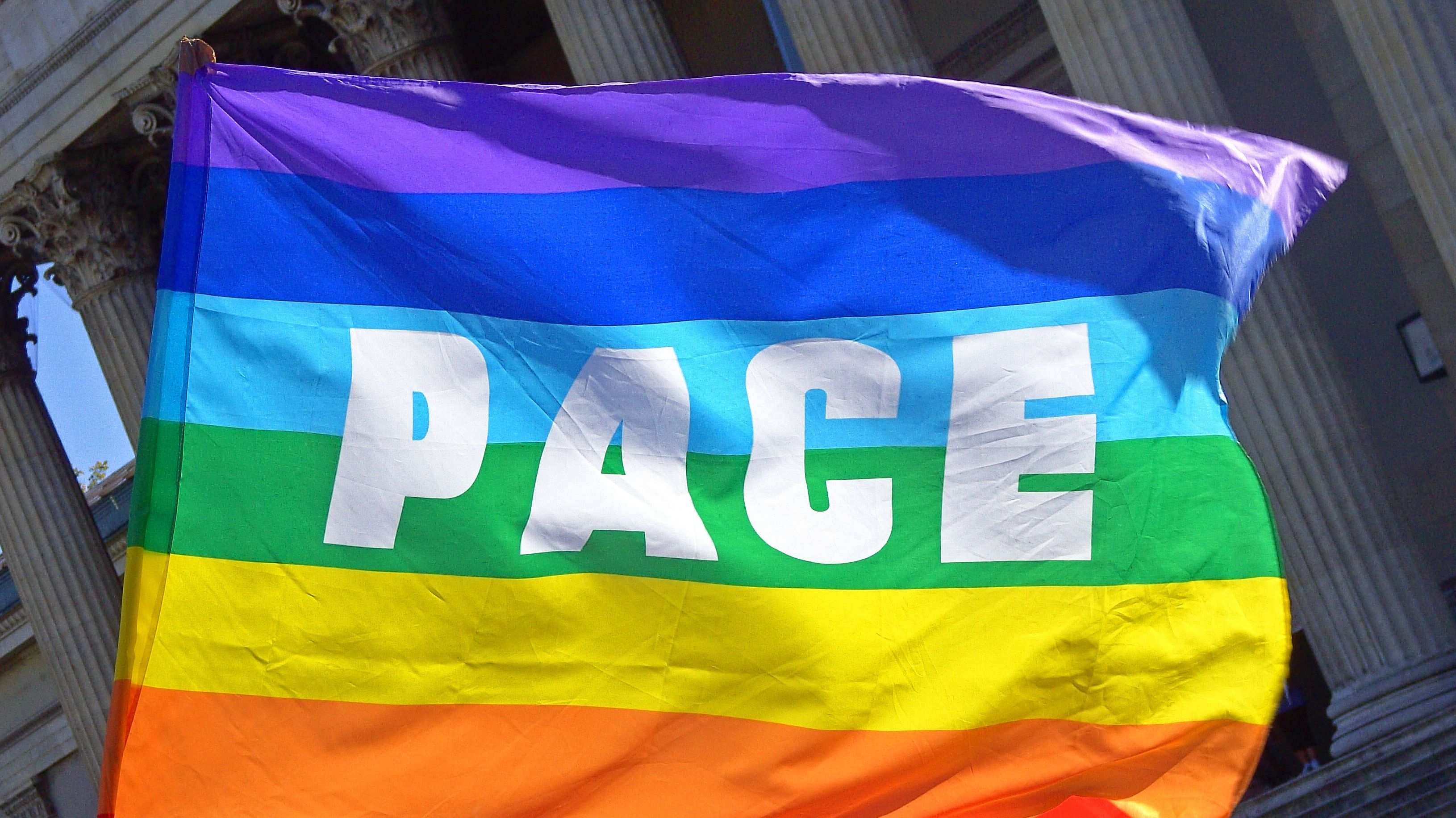 Pace-Flagge am Königsplatz in München 2007