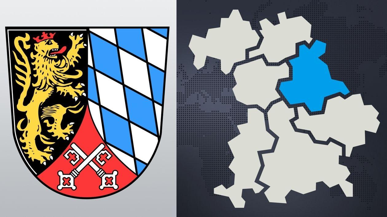 Das Wappen der Oberpfalz, daneben die Bayern-Landkarte mit den sieben Regierungsbezirken.