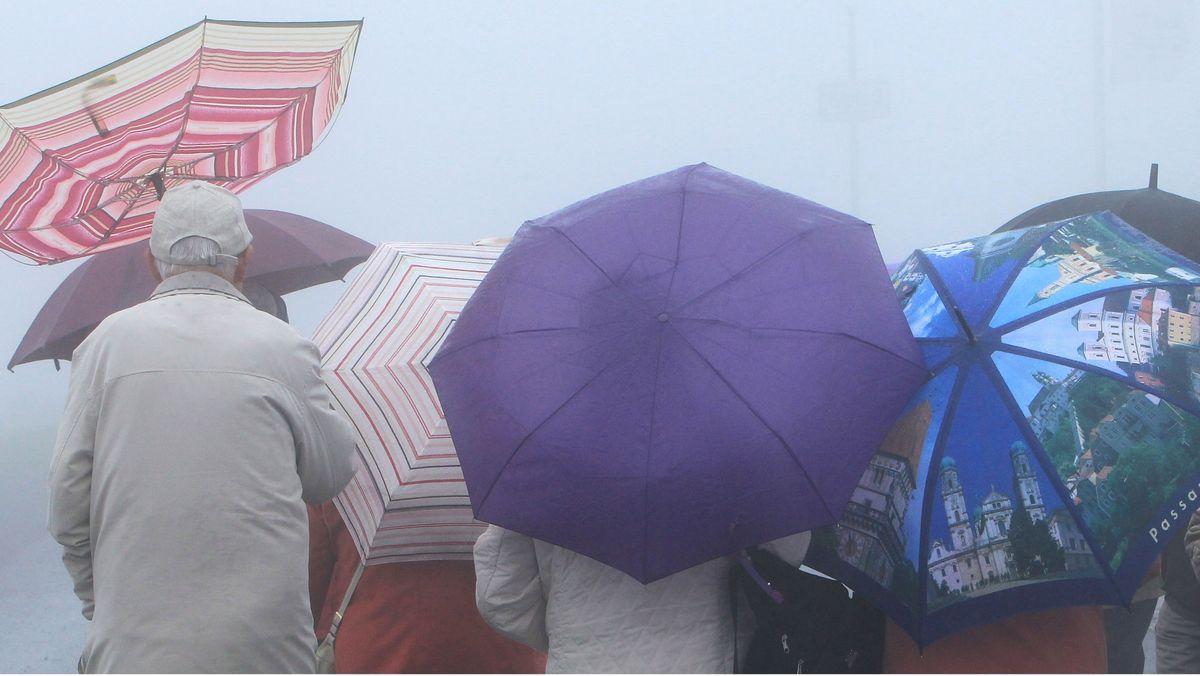 Menschen mit Regenschirmen stehen im Nebel