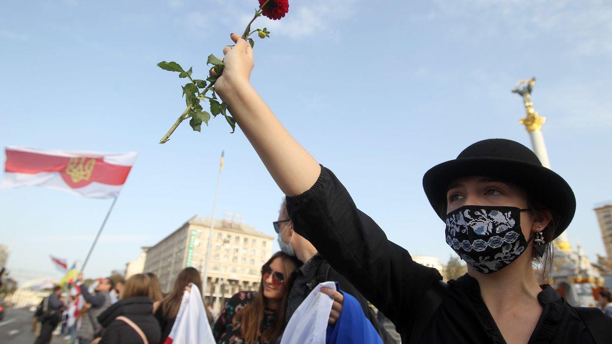 Demonstration von Exil-Belarussen in Kiew, Ukraine