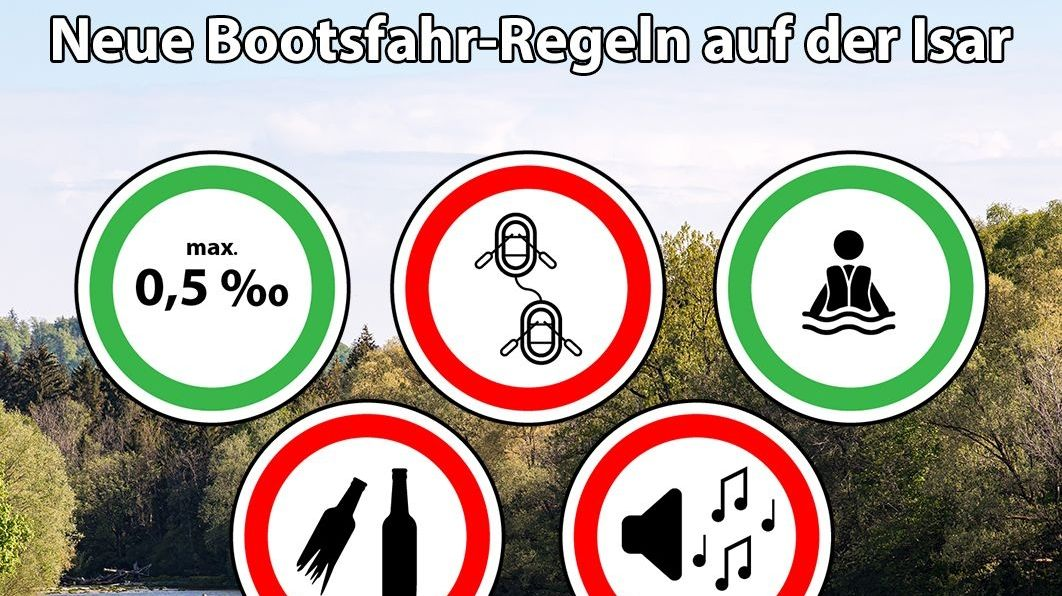 Bootsfahr-Regeln für die Isar im Landkreis München