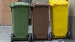 Drei Mülltonnen, eine grün, eine braun, eine gelb | Bild:picture alliance/chromorange