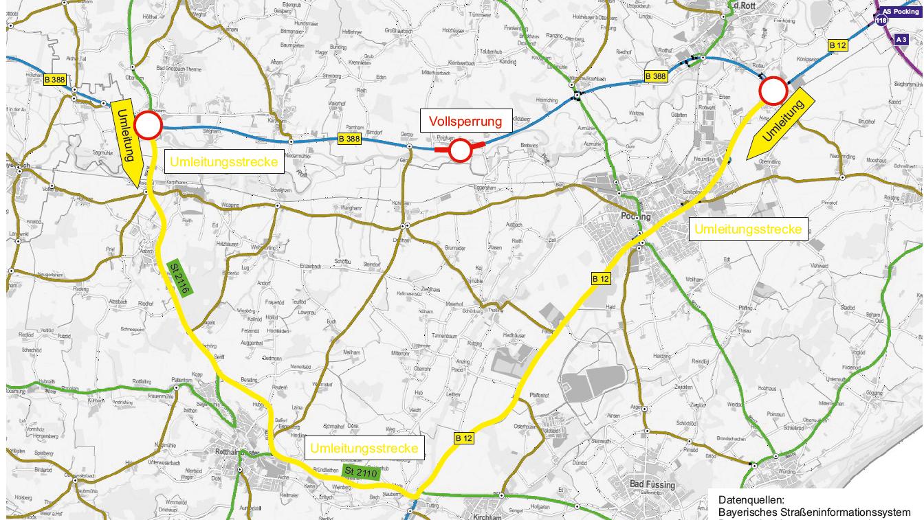 Die Karte zeigt die gesperrte Strecke und die weite Umleitung