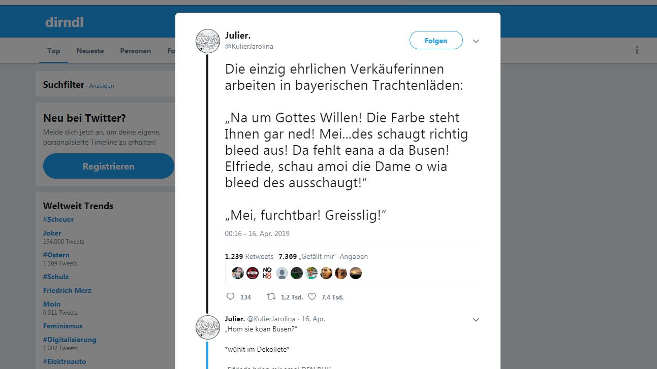 Ein Twitter-Screenshot zu einem Tweet über einen Dirndl-Kauf