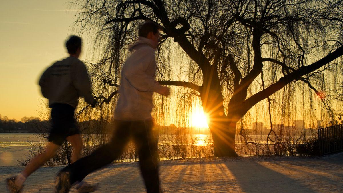 Jogger in der Abendsonne