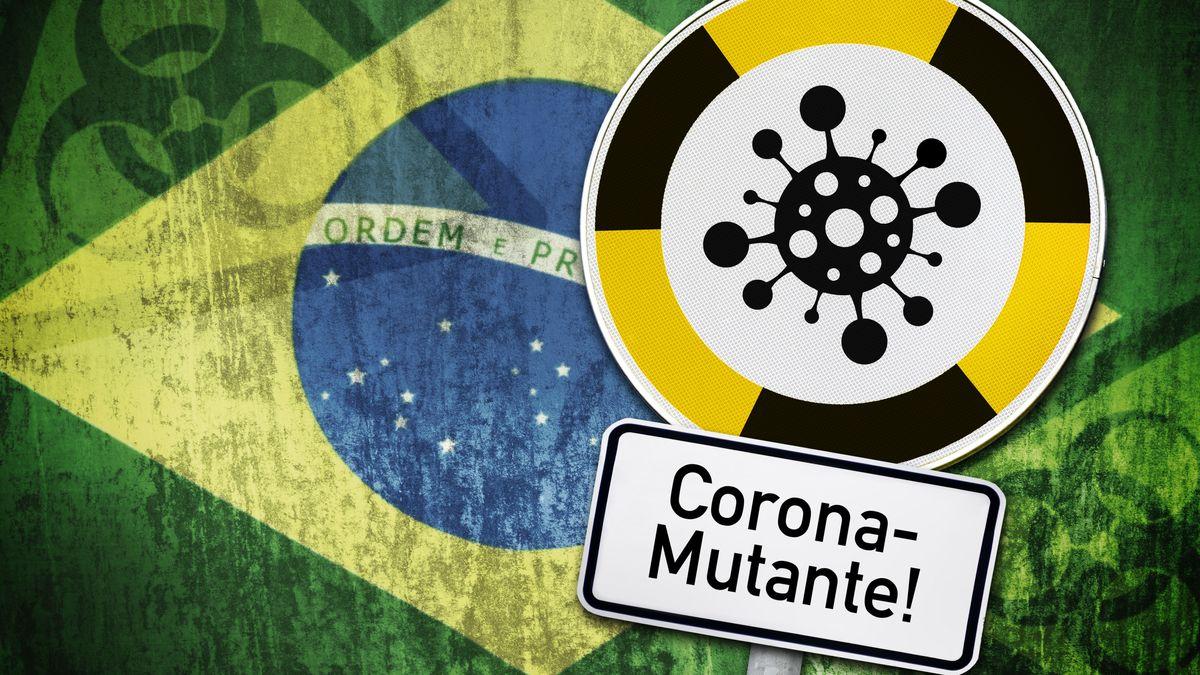 FOTOMONTAGE, Schild mit Coronavirus-Symbol und Fahne von Brasilien, brasilianische Virus-Mutante