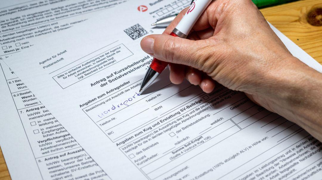 Ein Antragsformular für Kurzarbeitergeld