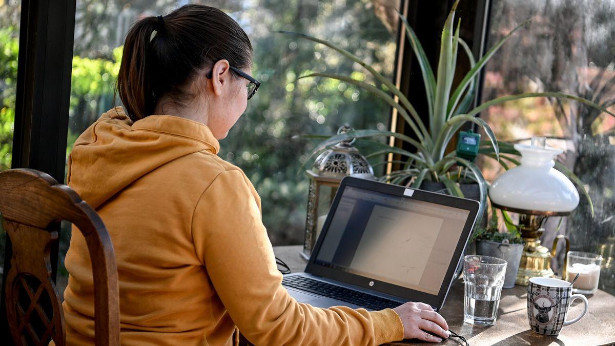 Symbolbild: Eine junge Frau arbeitet im Homeoffice.