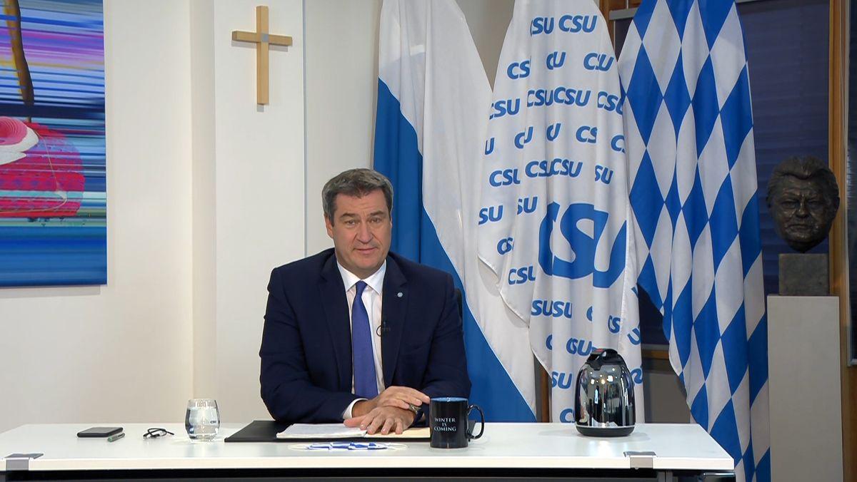 Markus Söder spricht beim virtuellen CSU-Parteitag