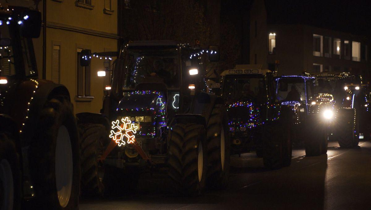 Lichteraktion von Landwirten in Schweinfurt