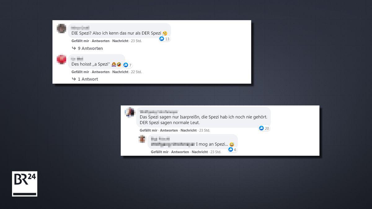 """Screenshot von Kommentaren auf BR24-Facebook zum richtigen Artikel bei """"Spezi""""."""