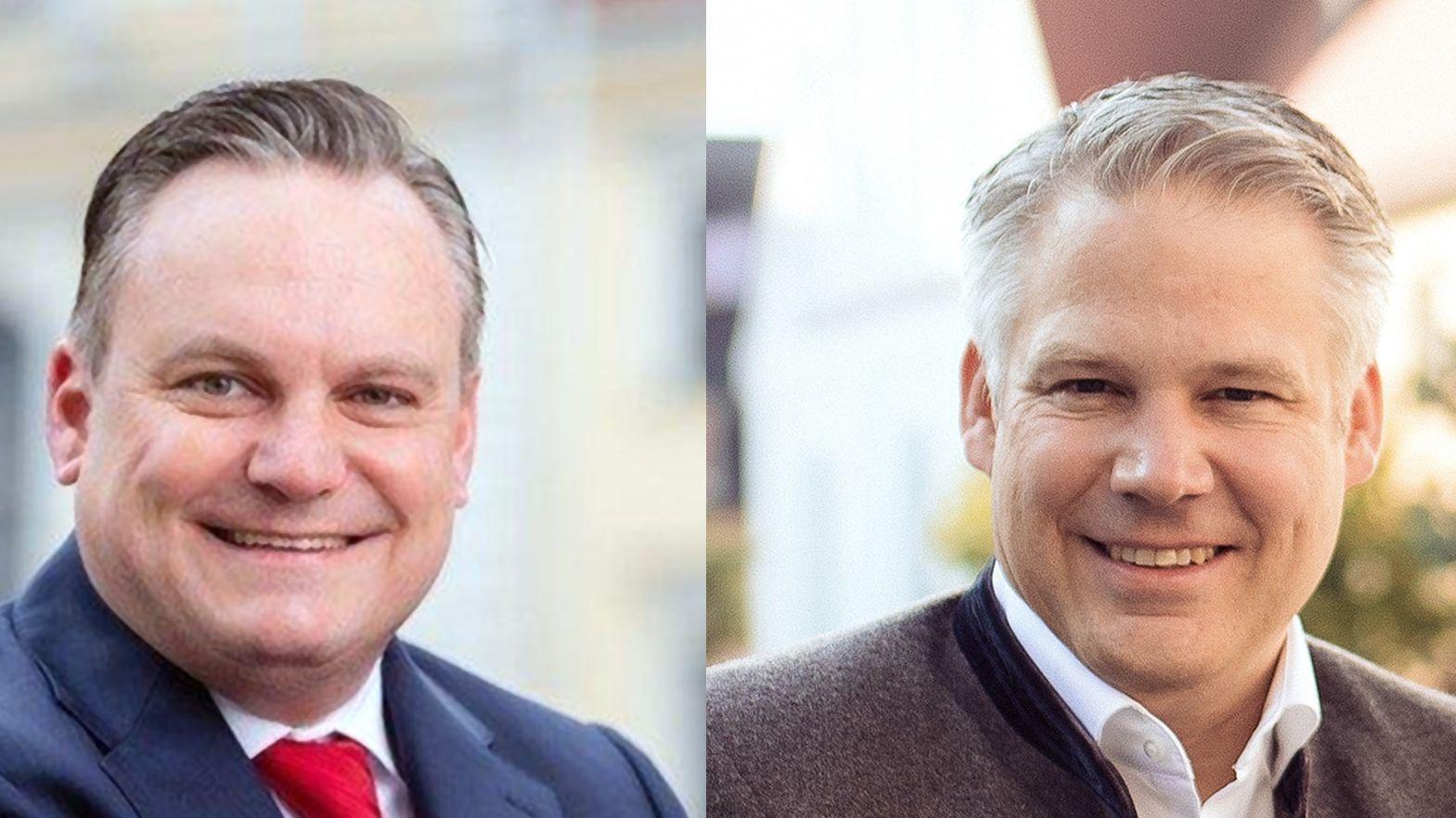 Links: Christian Scharpf (SPD), rechts: der bisherige Amtsinhaber Christian Lösel (CSU)