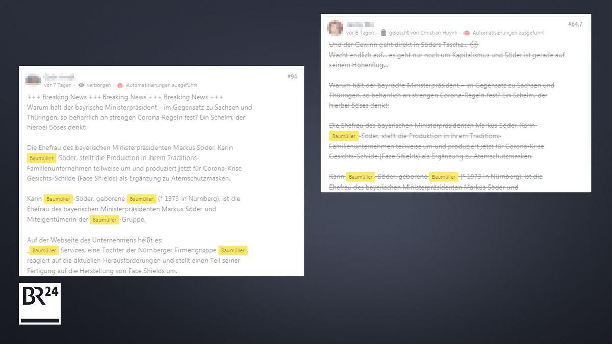 Wortgleiche Kommentare unter BR-Artikeln