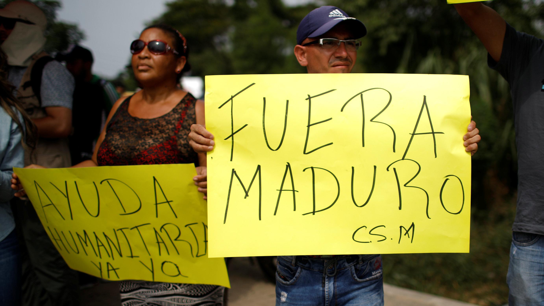 Demonstration für internationale Hilfe in Venezuela