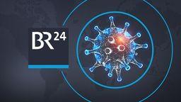 BR24 Logo neben einer Coronavirus-Illustration | Bild:colourbox.com; Montage: BR24