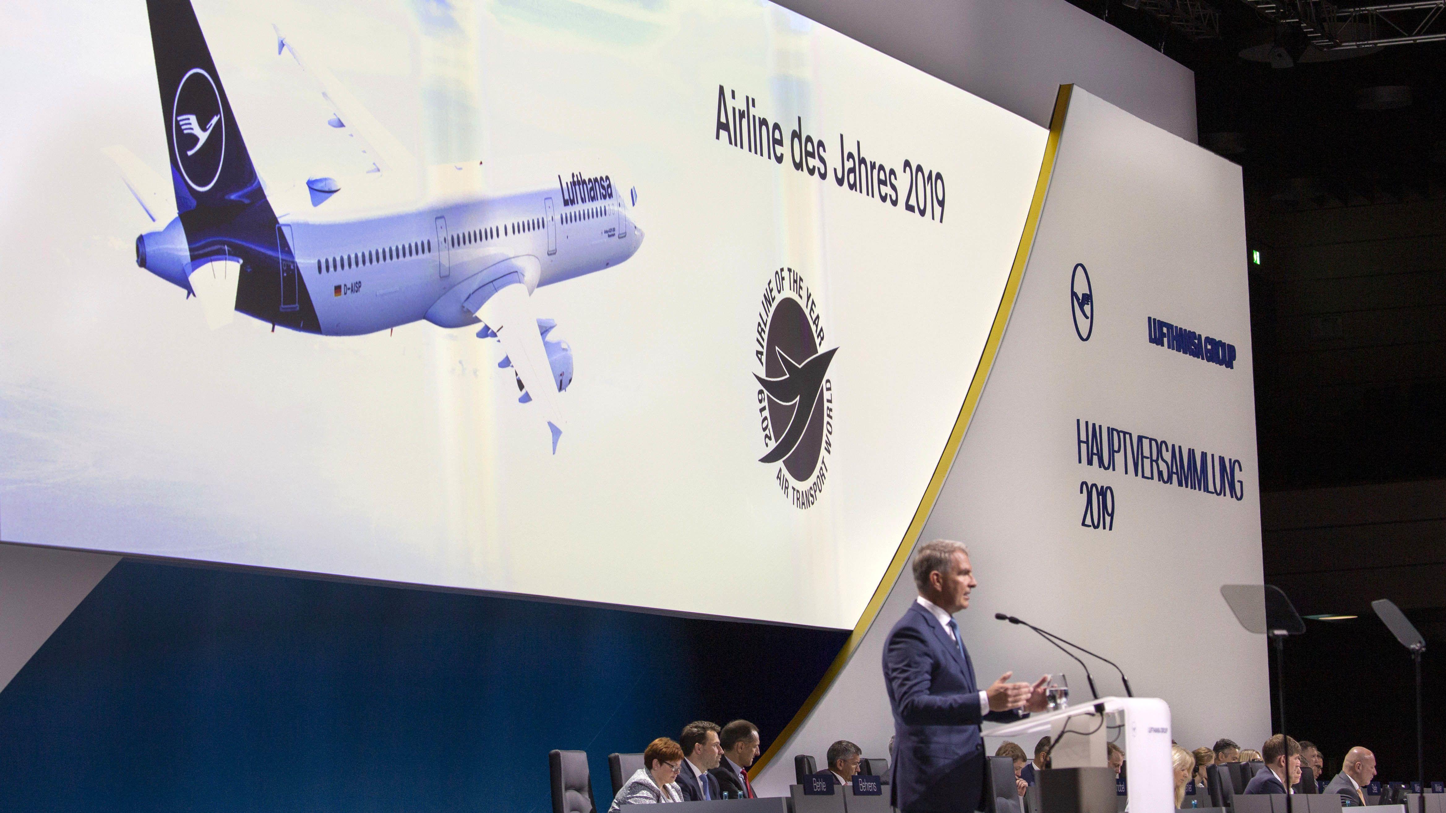 Carsten Spohr, Vorstandsvorsitzender der Lufthansa Group, bei der Hauptversammlung des Unternehmen