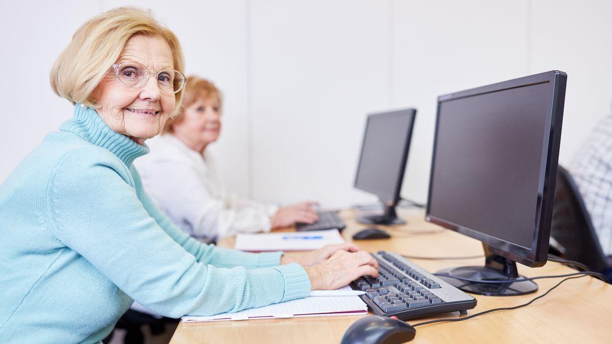 Eine Seniorin sitzt am Computer