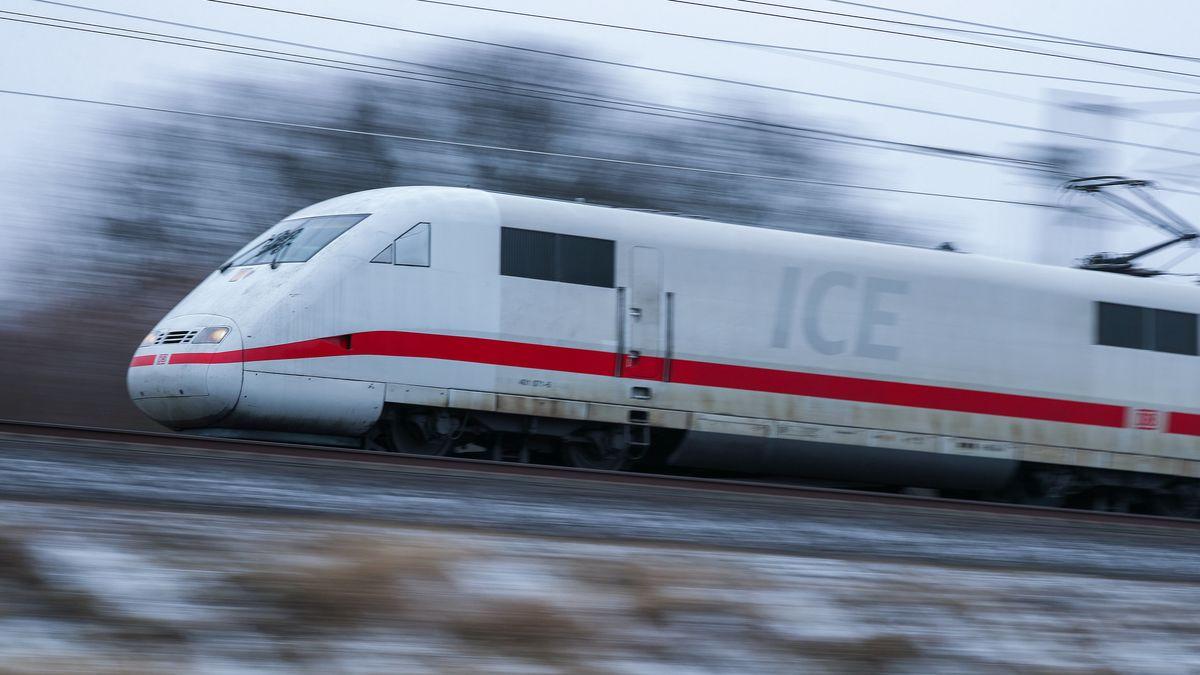 Ein ICE fährt auf freier Strecke.