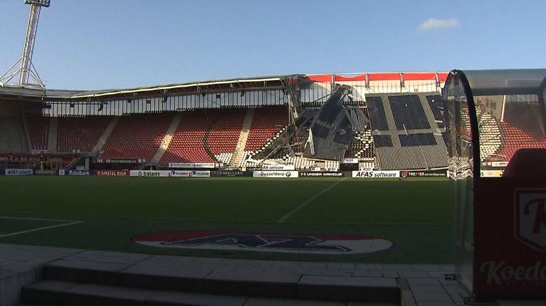 Stadiondach des Fußballvereins AZ Alkmaar eingestürzt