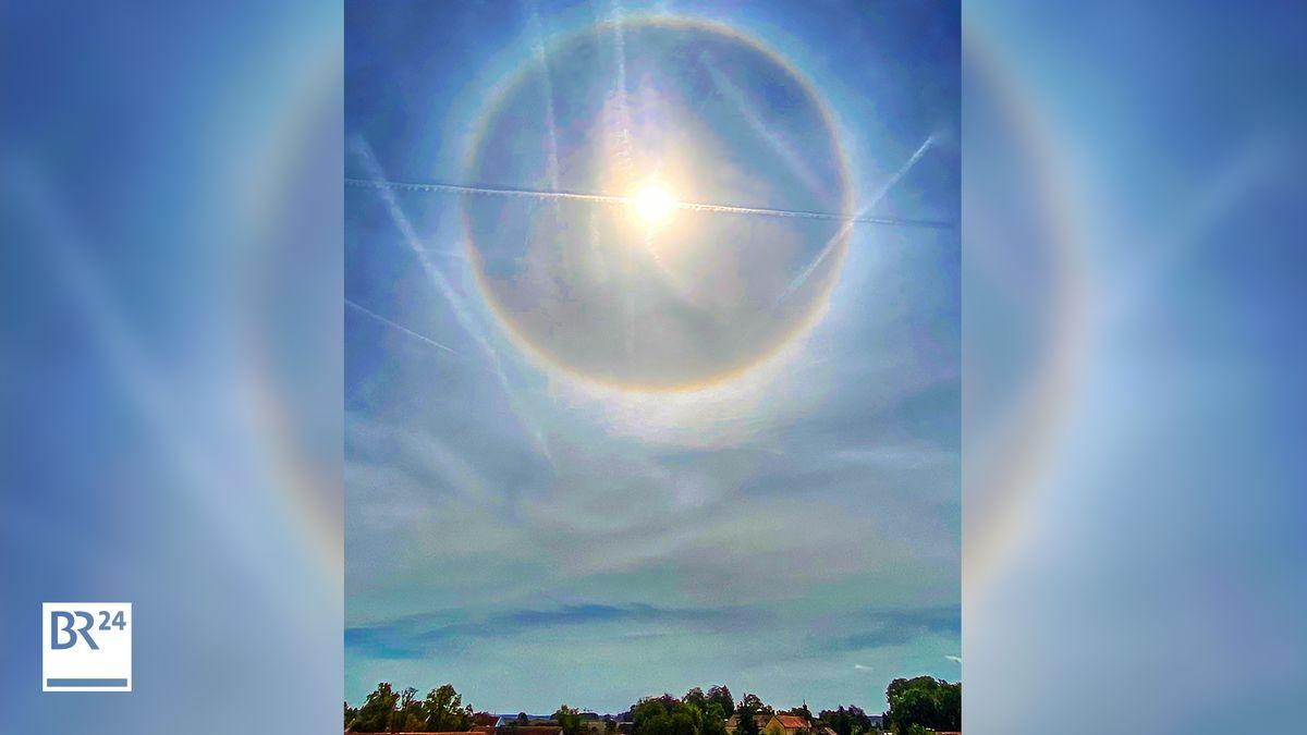In Erding gab es am Donnerstag das seltene Naturphänomen Halo zu sehen. (Bild auf 16:9-Format bearbeitet)