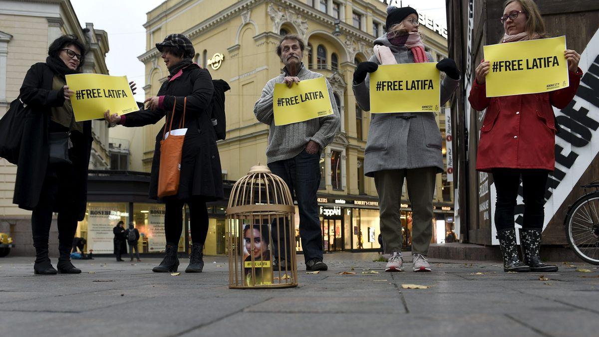 16.10.2019: Amnesty-Mitglieder demonstrieren für die Freilassung von Prinzessin Latifa al-Maktoum