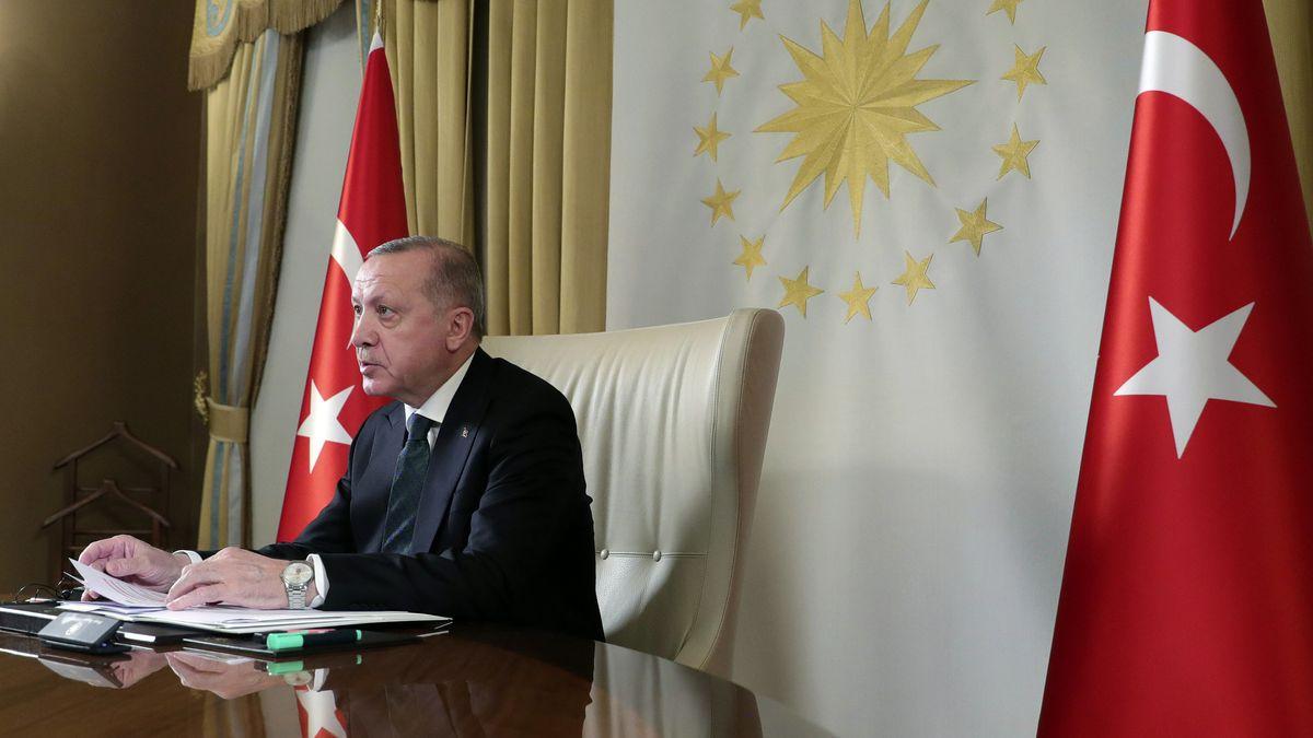 Recep Tayyip Erdogan, Präsident der Türkei, nimmt an einer Telekonferenz mit den europäischen Staats- und Regierungschefs teil
