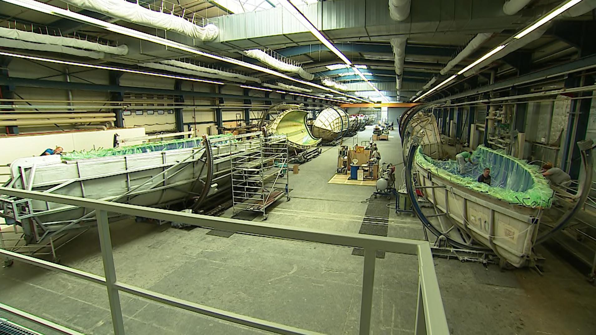 Fertigungshalle von Bavaria Yachtbau
