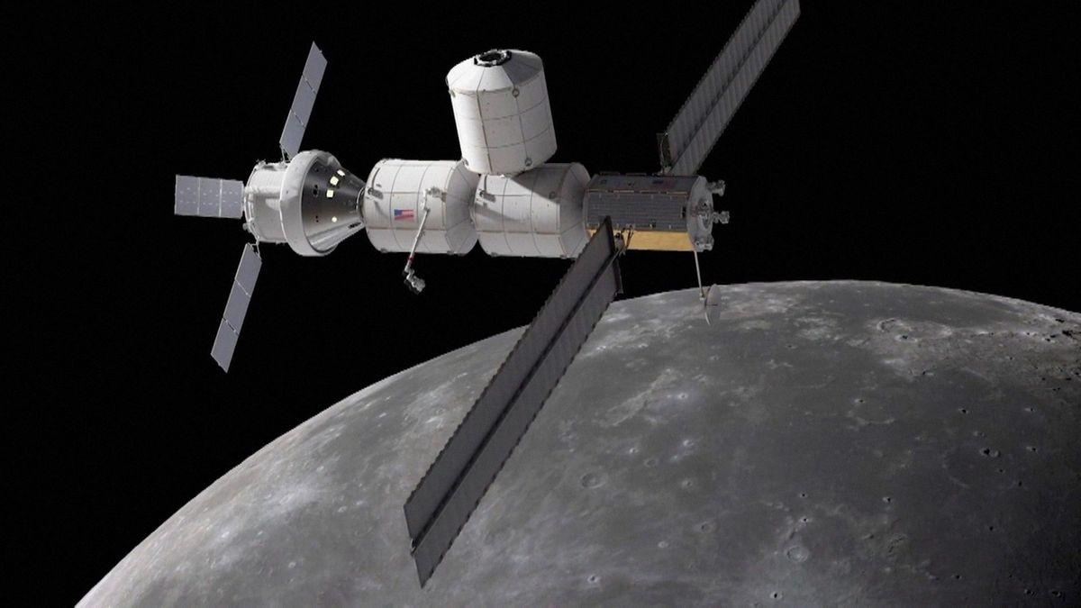 Simulation einer Mondstation im Orbit des Mondes