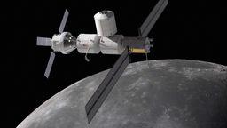 Simulation einer Mondstation im Orbit des Mondes | Bild:BR