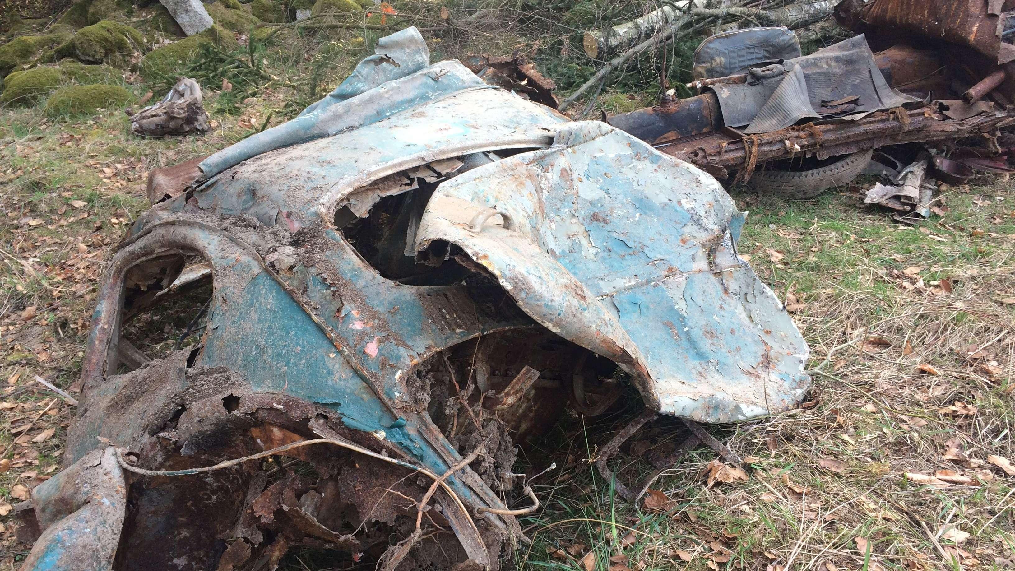 Teil des gefundenen Autowracks