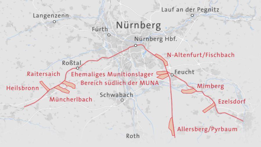 Karte der möglichen Standorte für das ICE-Werk bei Nürnberg