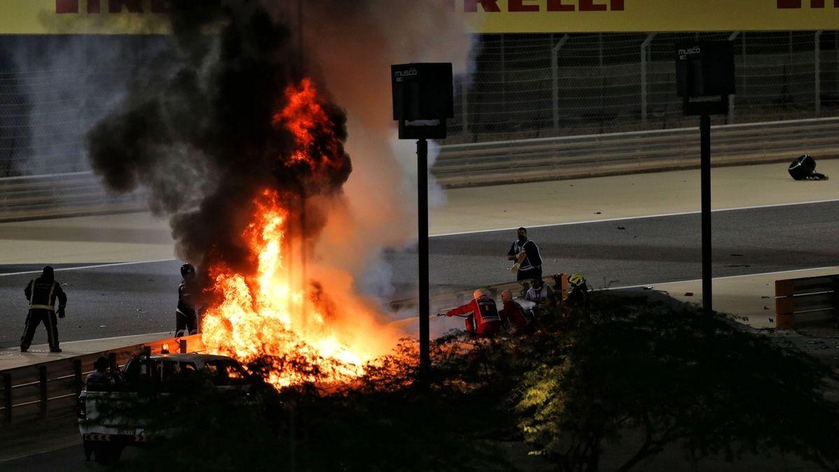 Feuerunfall von Romain Grosjean