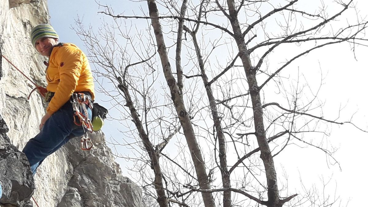 Der jüdische Bergführer Tal Niv beim Klettern.