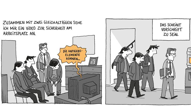 """Ausschnitt aus dem Reportagecomic """"Lehrjahre"""" von Guy Delisle"""