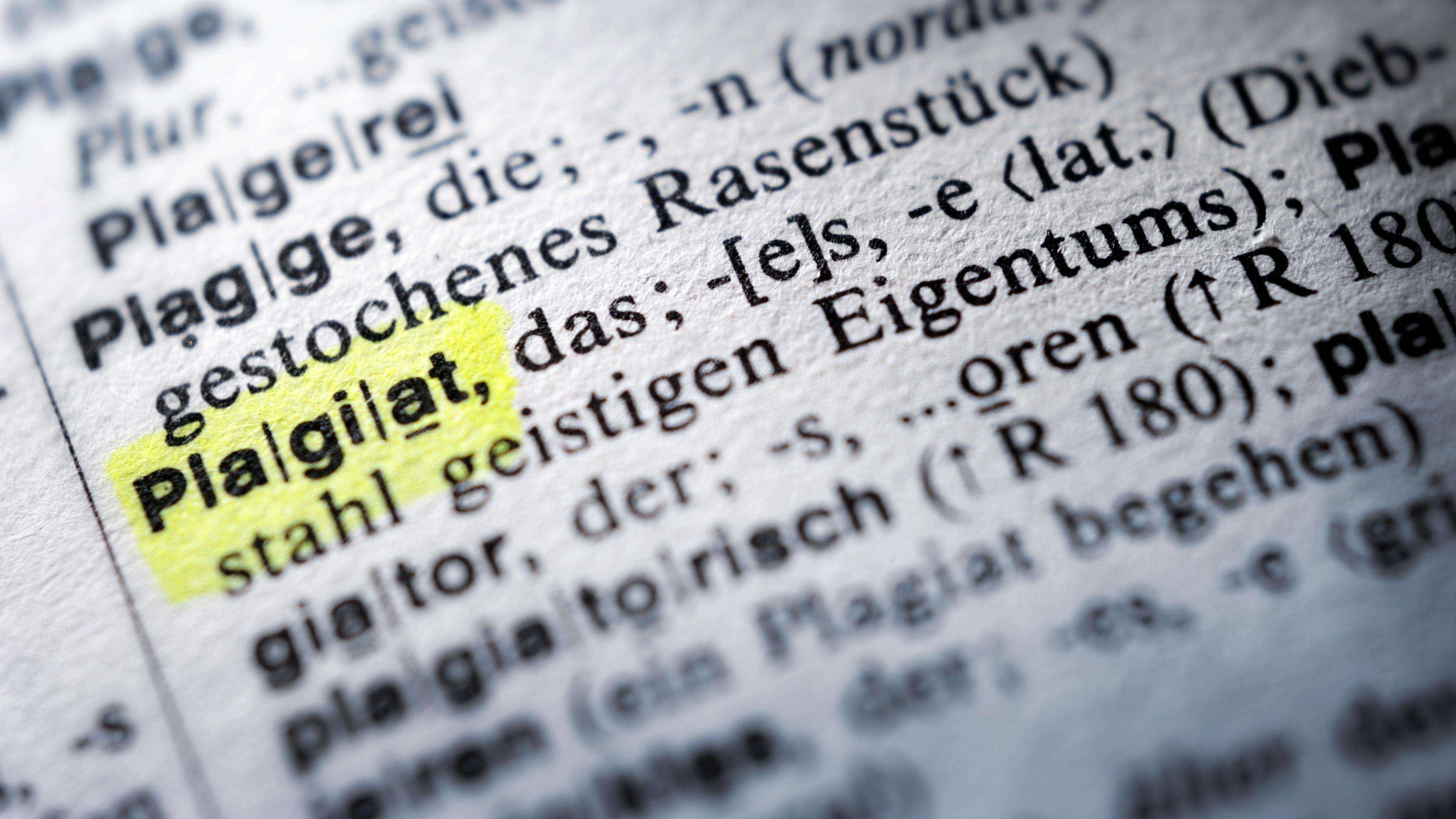 """Der Begriff """"Plagiat"""" ist im Wörterbuch gelb markiert"""