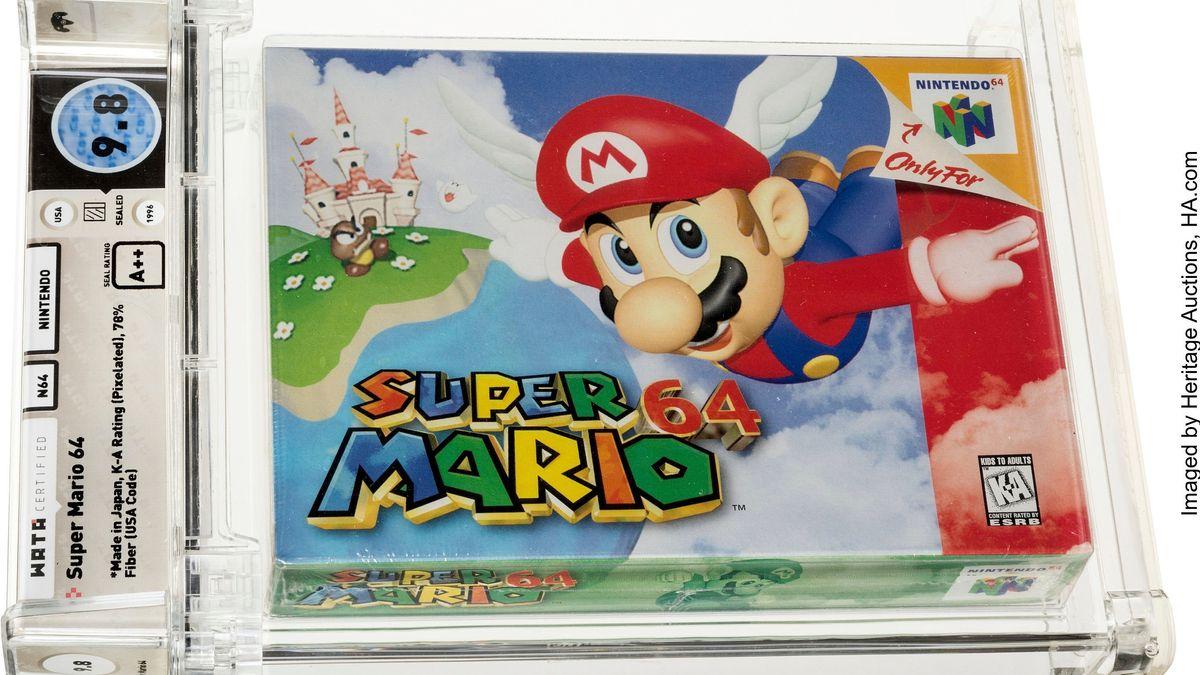 Eine ungeöffnete Kopie von Nintendos Super Mario 64