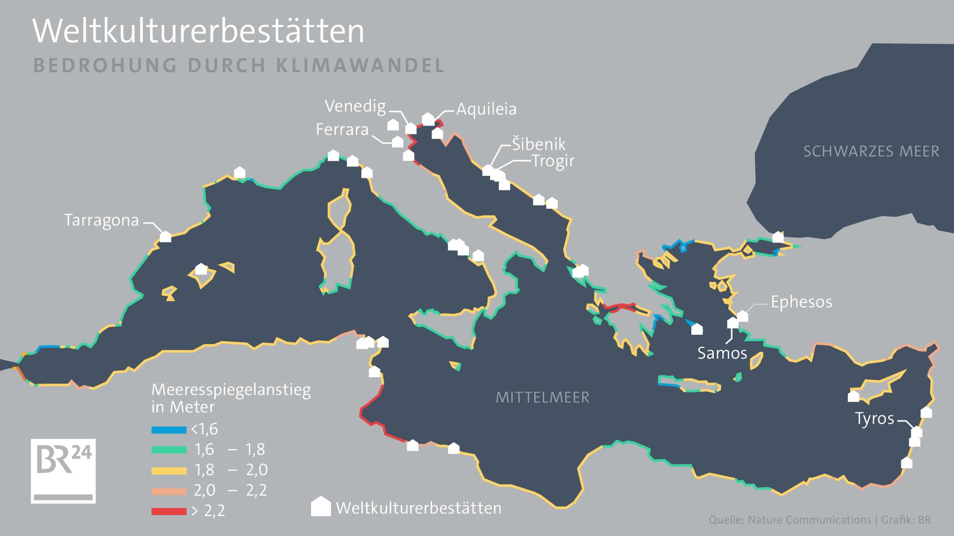Karte über bedrohte Weltkulturerbestätten durch den Klimawandel