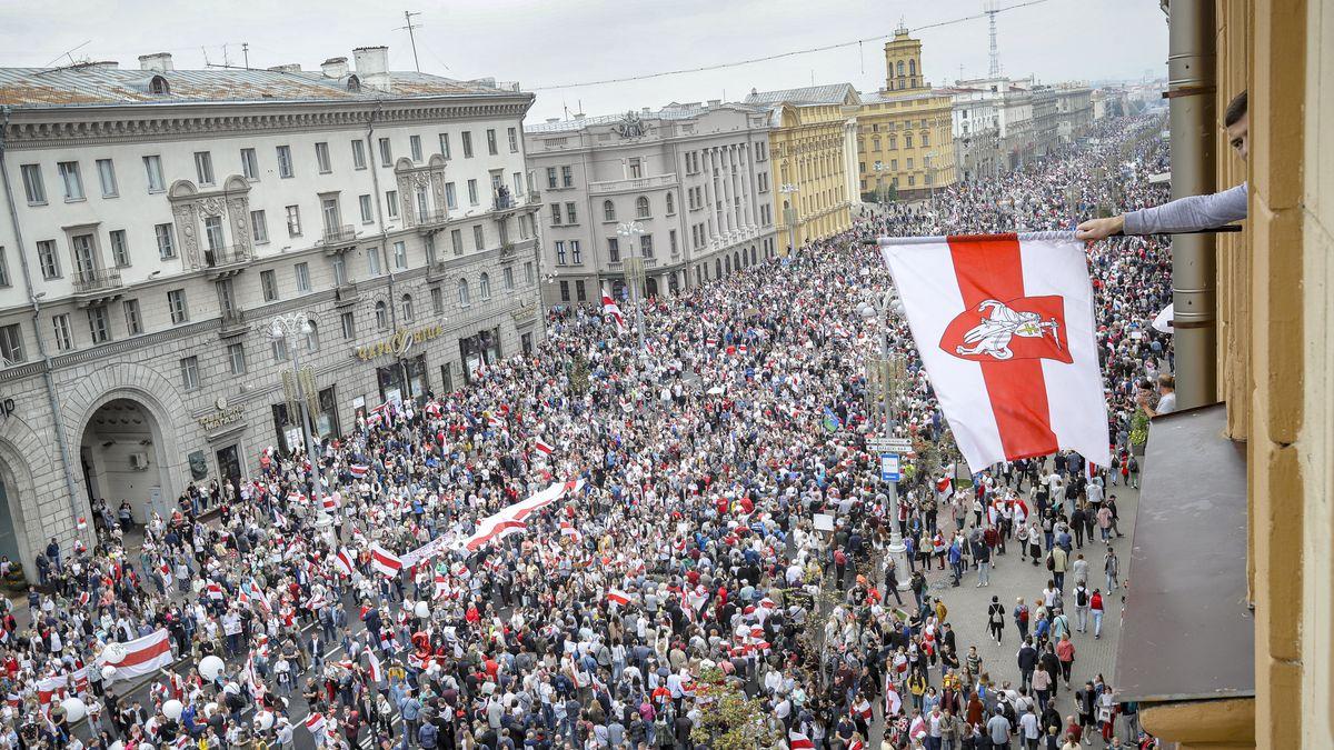Aufnahmen von den Protesten in Belarus Ende August.