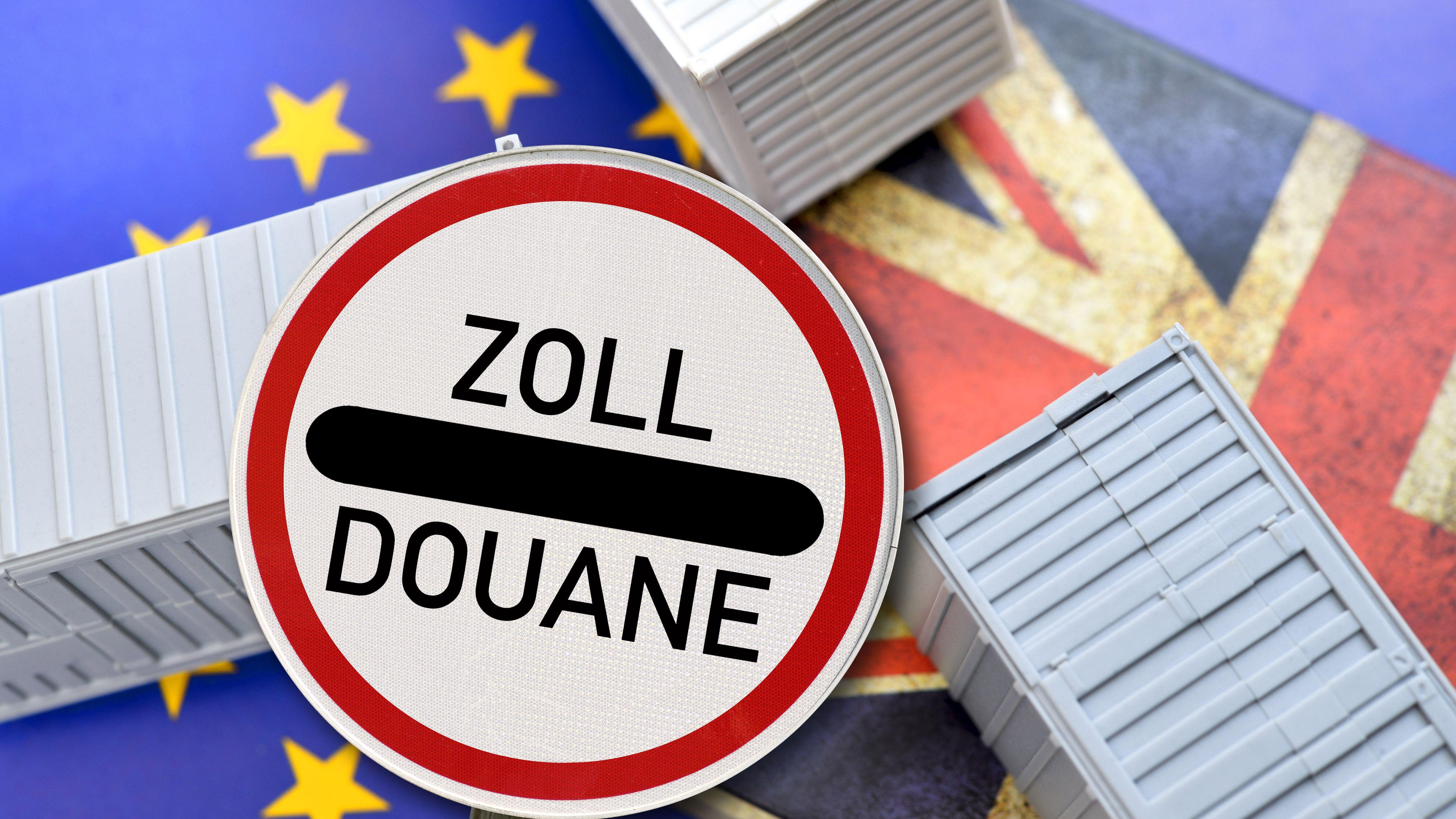 Flaggen Großbritanniens und der EU mit einem Zoll-Schild