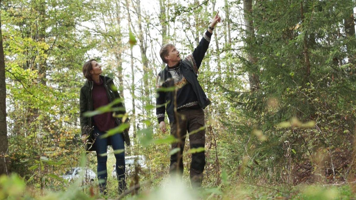Dr. Marco Heurich und die BR-Autorin Alexandra Rinschler im Nationalpark Bayerischer Wald