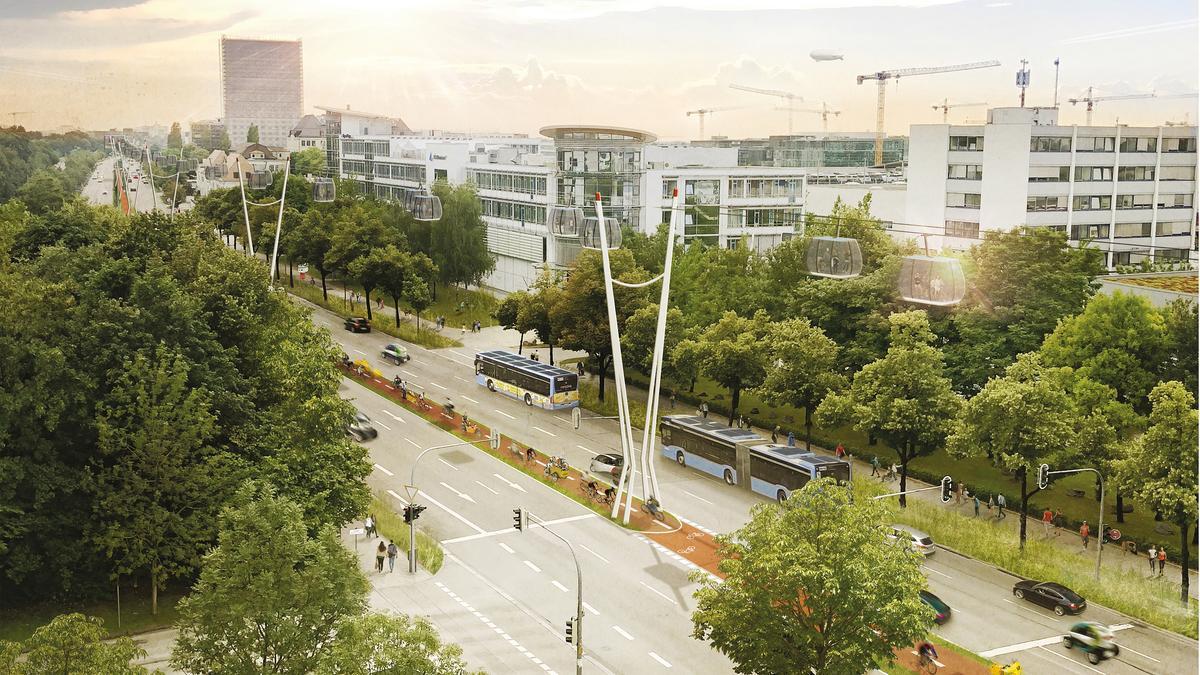 Konzeptidee der Seilbahn entlang des Frankfurter Rings in München