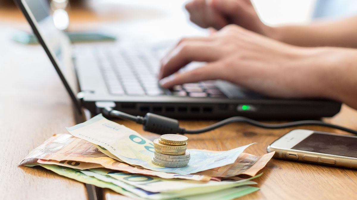 Symbolbild: Euro-Scheine und -Münzen liegen vor einem Laptop