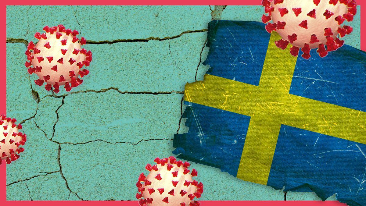 Eine zerschlissene Schweden-Flagge liegt auf einem rissigen Boden. Drumherum grafische Darstellungen von Corona-Viren.