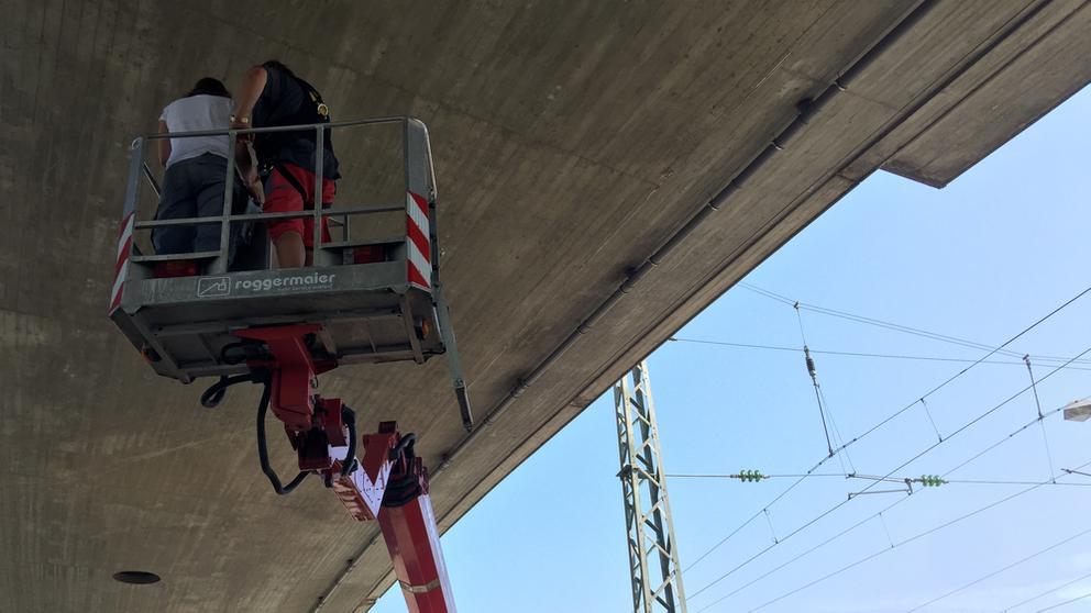Ein Kran mit zwei Menschen, sie überprüfen die Fugen unter einer Autobahn-Brücke.   Bild:BR / Magdalena Herden