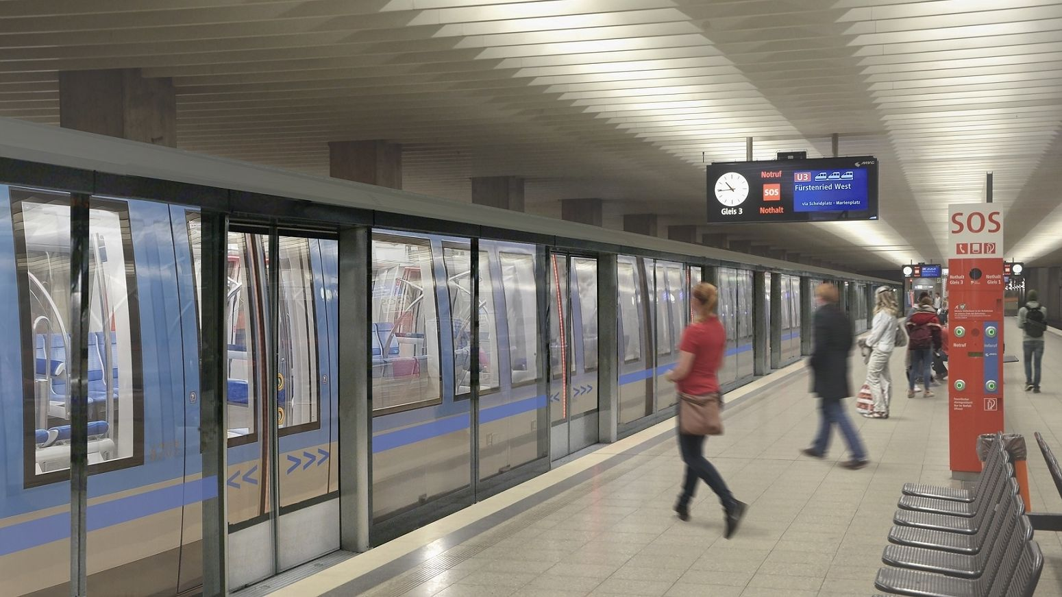 Das von der Münchner Verkehrsgesellschaft zur Verfügung gestellte und am Computer bearbeitete Bild zeigt automatische Bahnsteigtüren am Bahnsteig.